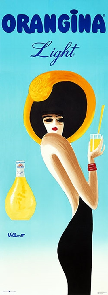 Oranginal Light Bernard Villemot poster print - Vintage Posters Reproductions. French food poster advertisement for orange citrus drink. Giclee Advertising Prints.
