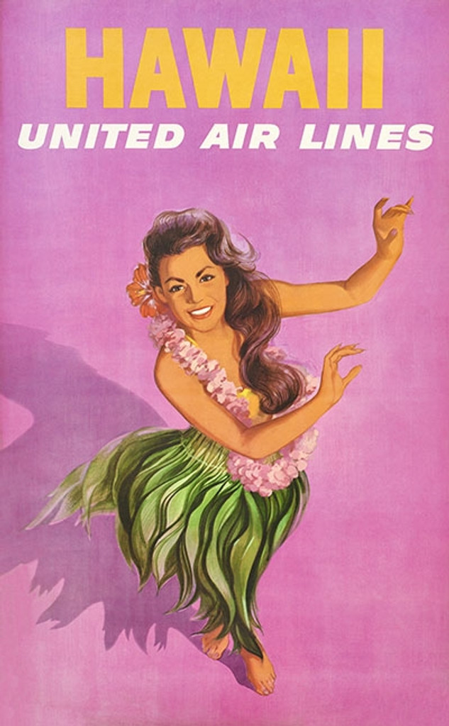 Hawaii United Airlines poster print by Stan Galli - Vintage Travel Posters Reproductions. American travel poster features hula dancer on a purple beckground. Giclee Advertising Prints