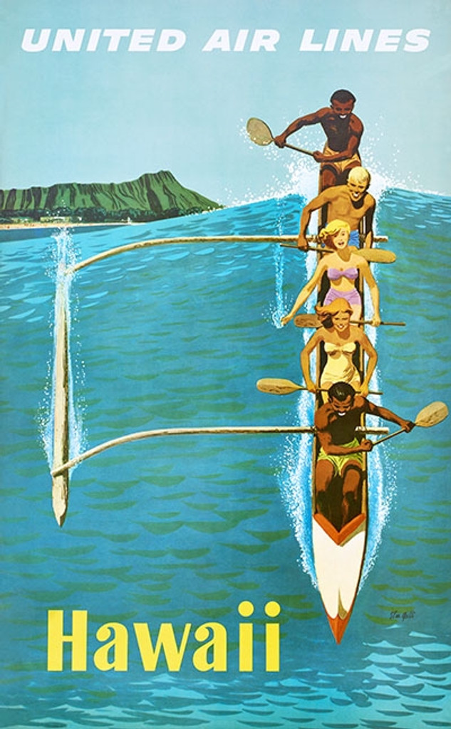 Hawaii United Airlines poster print - Vintage Travel Posters Reproductions. American travel poster features people on a canoe paddling big wave. Giclee Advertising Prints.