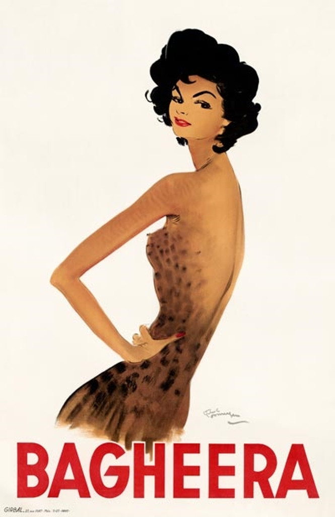 Bagheera by Domergue poster print - Vintage Posters Reproductions. French theater performer poster features a dark hair woman in brown and black spot dress on a white background. Giclee Advertising Prints. Classic Posters