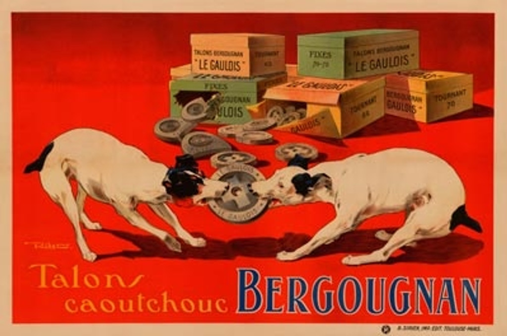 Bergougnan poster from 1925 France by Ribet. Vintage Posters Reproductions. Horizontal French poster with two dogs fidding over talons part. Giclee advertising prints. Classic Poster