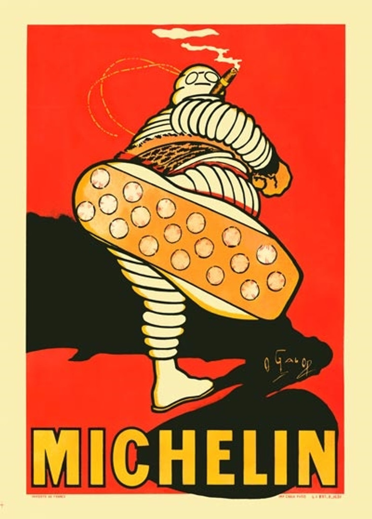 Michelin man tires poster print by O'Gallop - Vintage Poster Reproductions. French tire advertisement poster features a man made of tires smoking a cigar kicking his foot up showing the sole of his shoe.