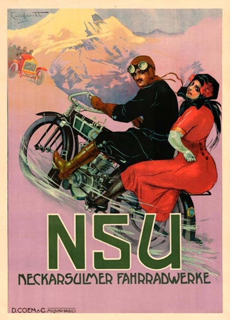 NSU motorcycle poster by Codognato 1908 France. Vintage Posters Reproductions. French transportation poster features a couple on a motorcycle riding through the mountains and a vintage car passing bye. Giclee Advertising Prints