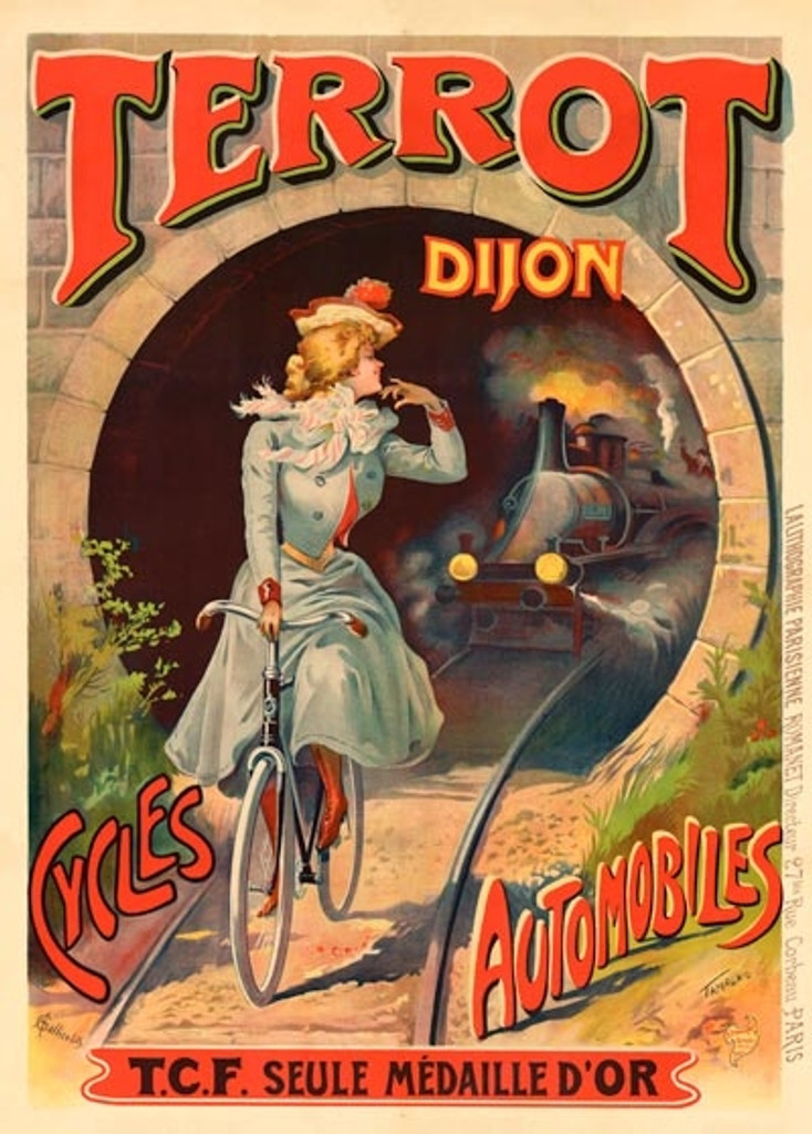 Terrot Dijon Cycles Automobiles poster by Tamagno. Vintage Posters Reproductions. French transportation poster features a woman riding on tracks with a train coming through a tunnel towards her. Giclee advertising prints cycles bicycles posters.