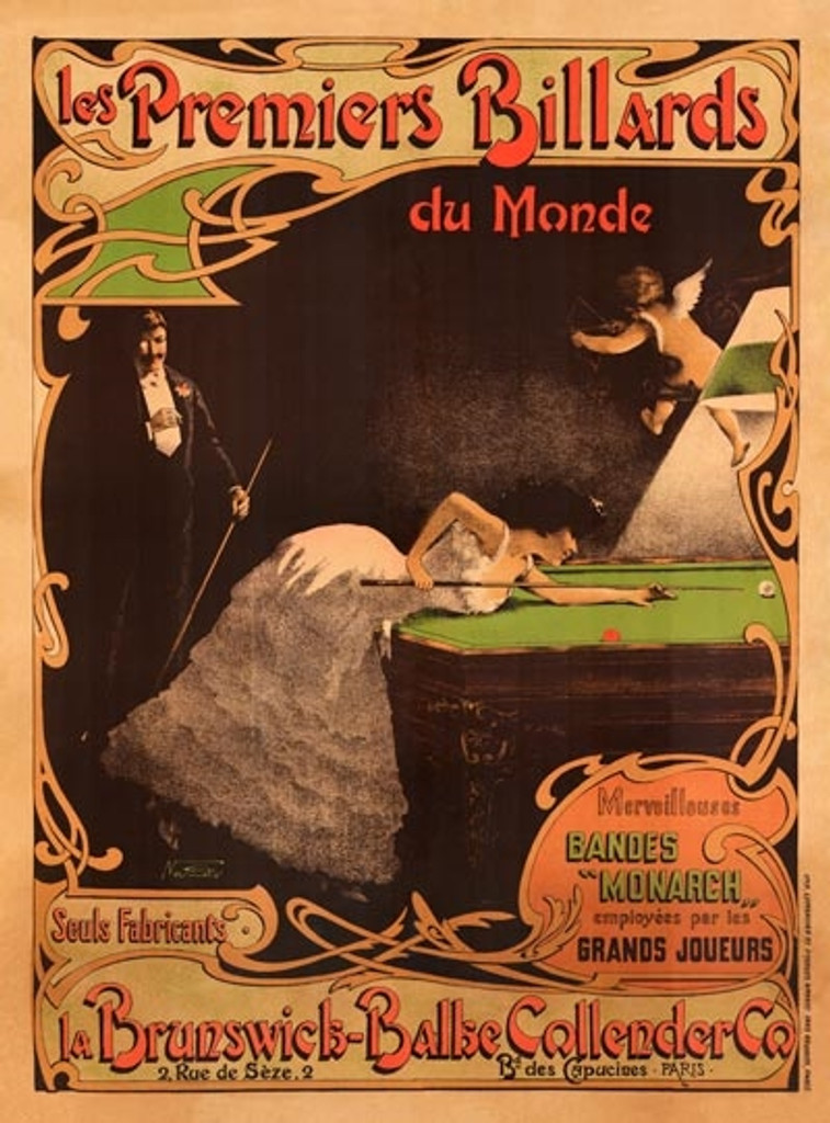 Les Premiers Billards La Brunswick Balke Vintage Poster Reproduction. French poster features a woman with cue stick leaning on a pool table playing billiard and a man standing behind her smoking and holding cue stick. Advertising Prints Classic Posters