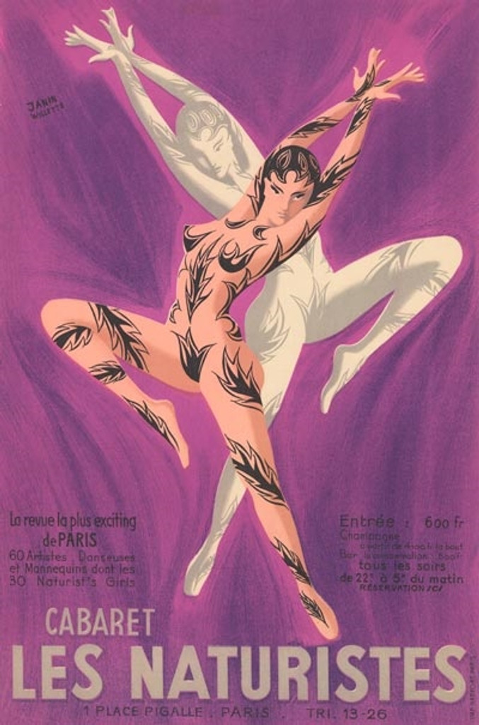 Cabaret Les Naturistes poster by Janin Willette - Beautiful Vintage Posters Reproductions. French theater and exhibition poster features two partially nude dancers wearing body paint in a dramatic pose on purple background. Advertising Prints