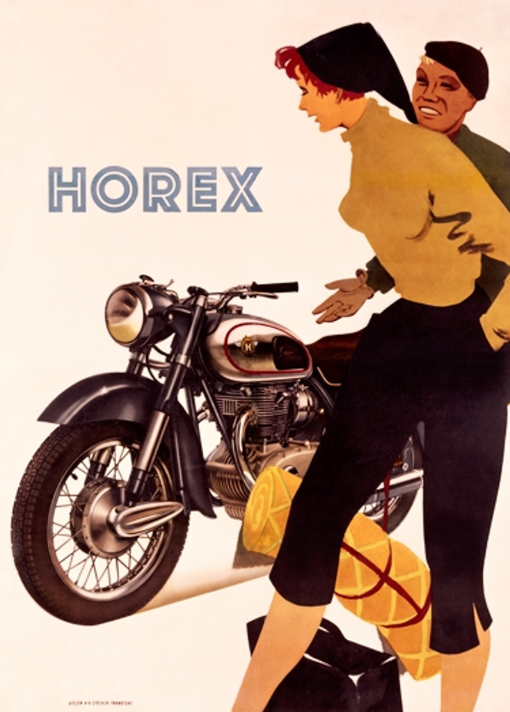 Horex Motorcycle Vintage Poster Reproduction. German transportation poster features a man sitting on motorcycle and woman standing next to him. Giclee Advertising Prints Posters