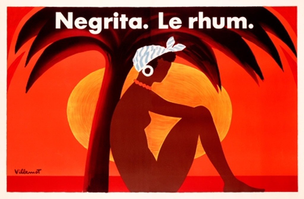 Negrita Le Rhum Poster by Bernard Villemot. French wine and spirits advertisement futures woman sitting under palm tree on a sunset background. Giclee advertising prints of vintage posters