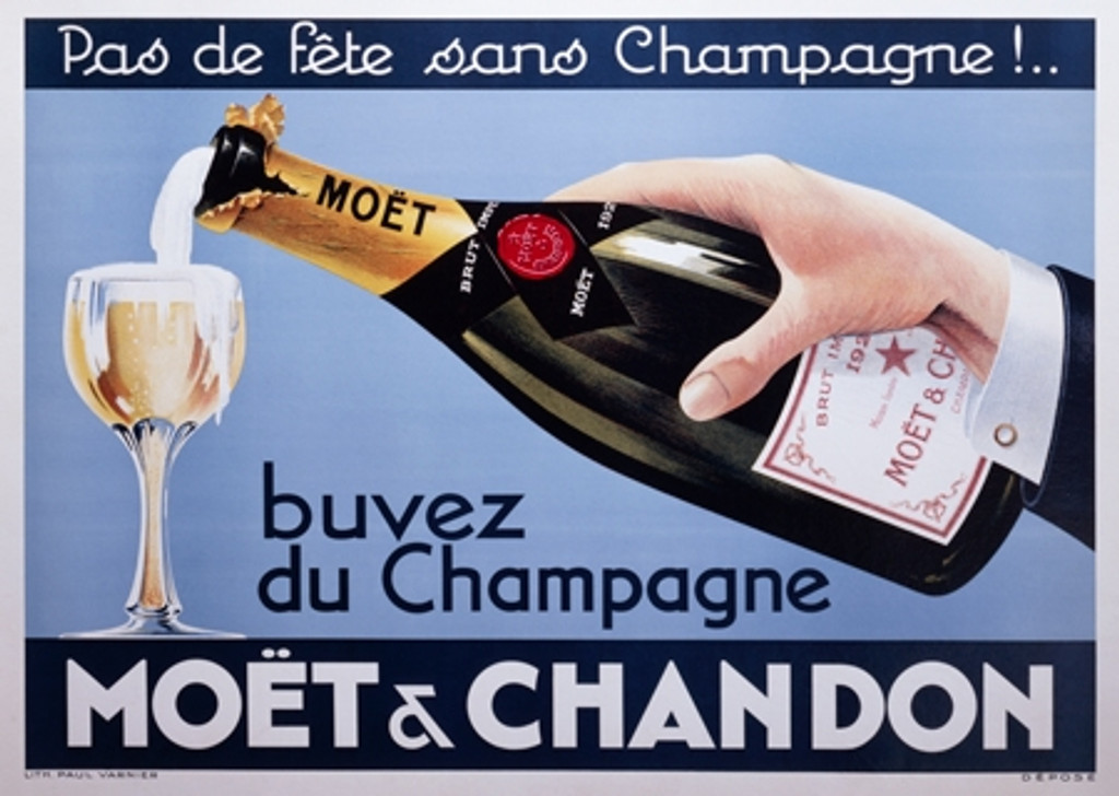 Champagne Moet and Chandon Vintage Poster Reproduction. French wine and spirit poster features hand holding a bottle of champagne pouring in to a glass. Giclee Advertising Prints Posters