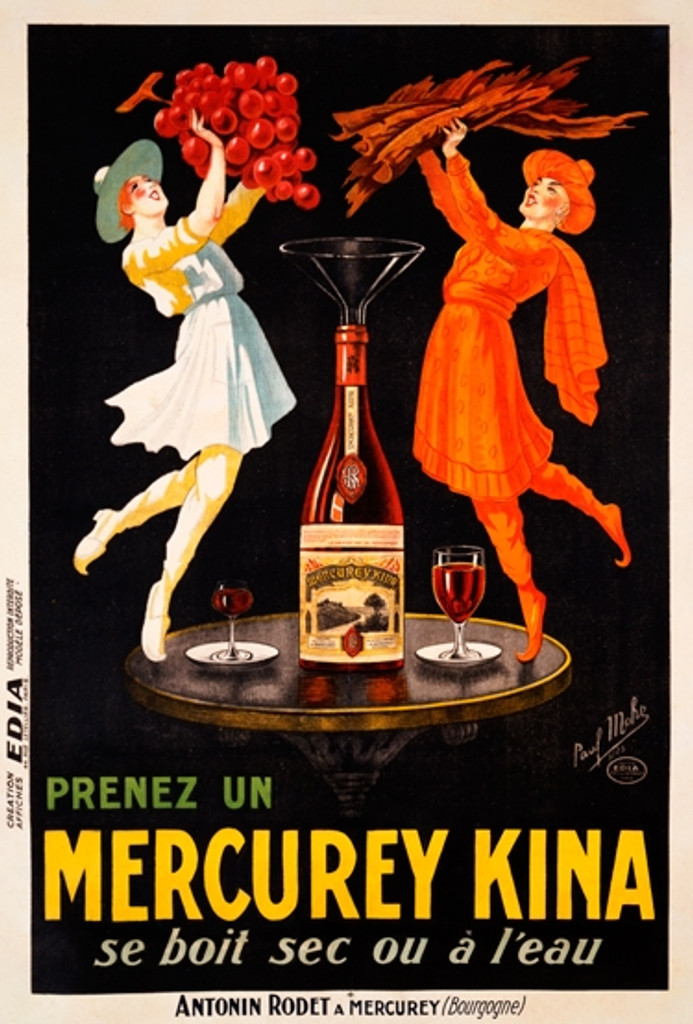 Mercurey Kina Vintage Wine Poster Print by Paul Mohr 1925 wine and spirit advertisement Giclee Print