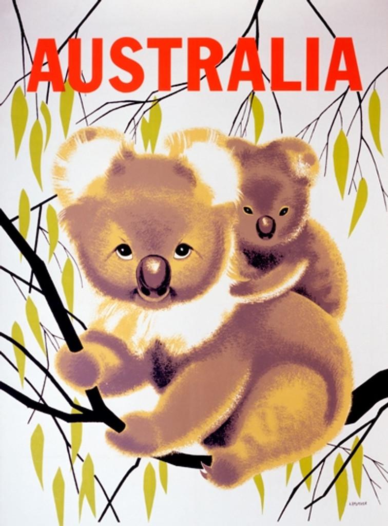 Australia Travel Vintage Poster Print by A. Amspoker Giclee Print. Travel destination advertisement