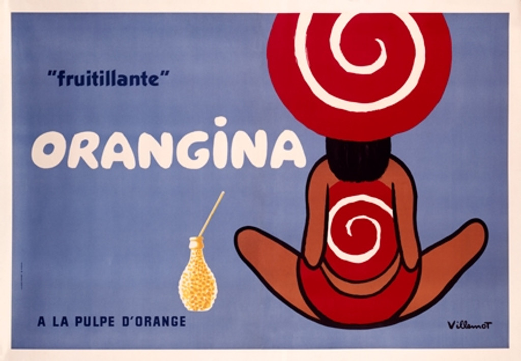 Orangina A La Pulpe D Orange Vintage Poster Print by Bernard Villemot. Giclee Prints. French food advertisement. Posters Reproductions are perfect decorating idea for empty wall in office, restaurant or home.