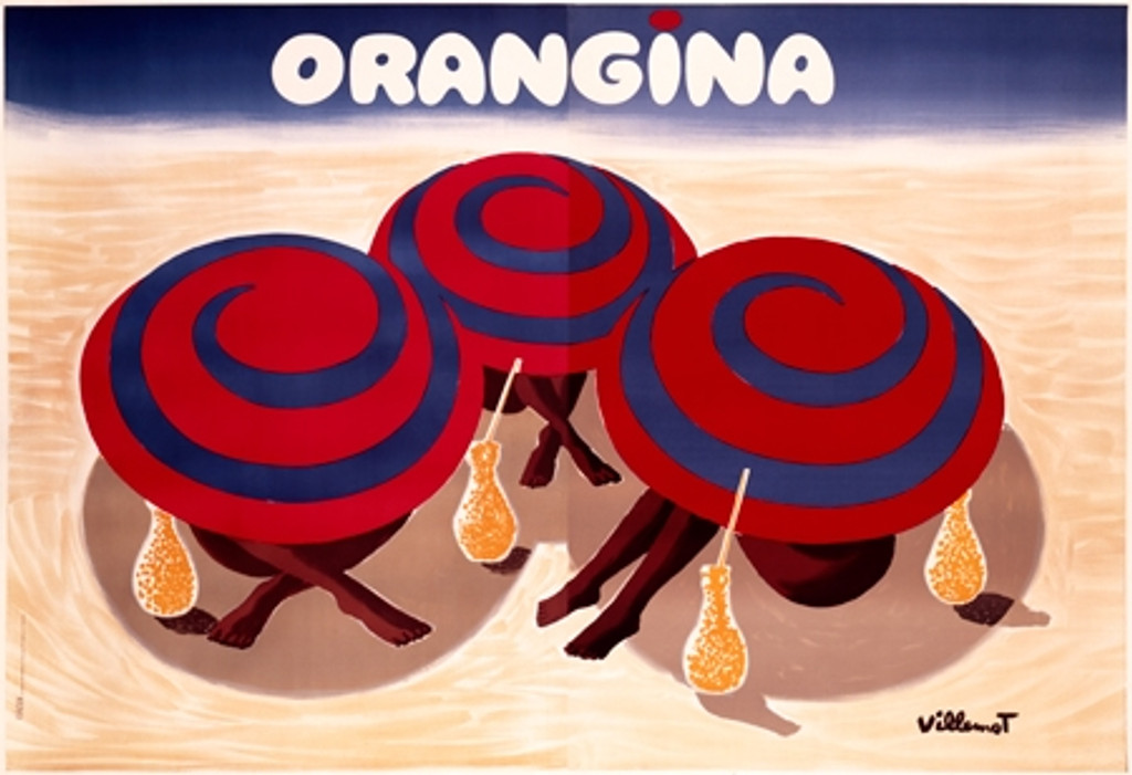 Orangina Vintage Poster Print by Bernard Villemot. Giclee Prints. French food advertisement. Posters Reproductions are perfect decorating idea for empty wall in office, restaurant or home.