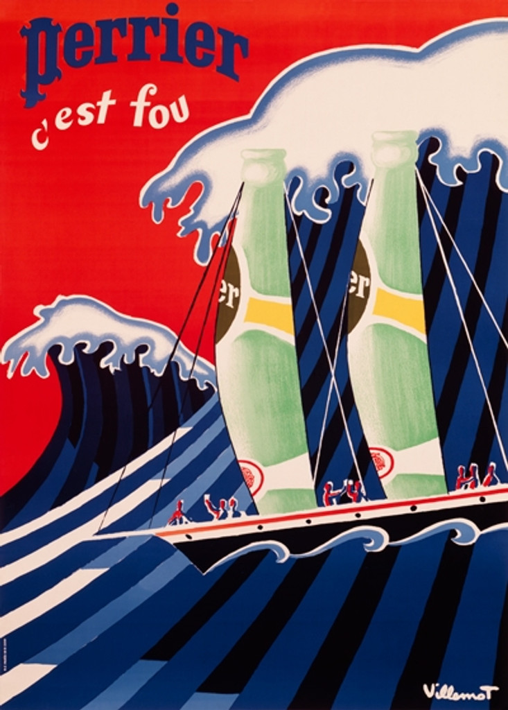Perrier c'est fou poster by B. Villemot - Beautiful Vintage Posters Reproductions. This vertical French culinary / food poster features a green bottles on a sailing boat and big wave on a background. Giclee Advertising Prints