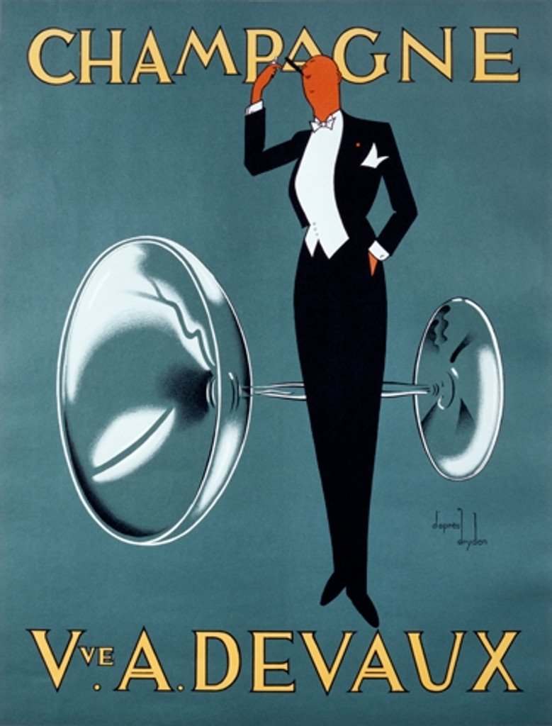 Champagne Vve. A. Devaux Vintage Poster Reproduction. French wine and spirits poster features a man in tuxedo standing in front of large champagne glass lighting up cigar. Giclee Advertising Prints. Classic Posters