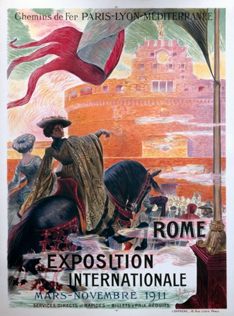 Exposition Internationale Rome poster by Rochegrosse from 1911. Vintage Posters Reproductions. French exhibition poster features two people on a horses riding towards a castle. Giclee Advertising Print. Classic Posters