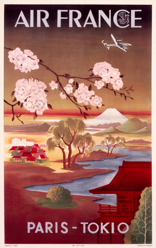 Air France Paris Tokio travel poster - Vintage Posters Reproductions. French poster features Japanese landscape and a cherry blossom tree branch with a airplane flying above. Giclee Advertising Prints.