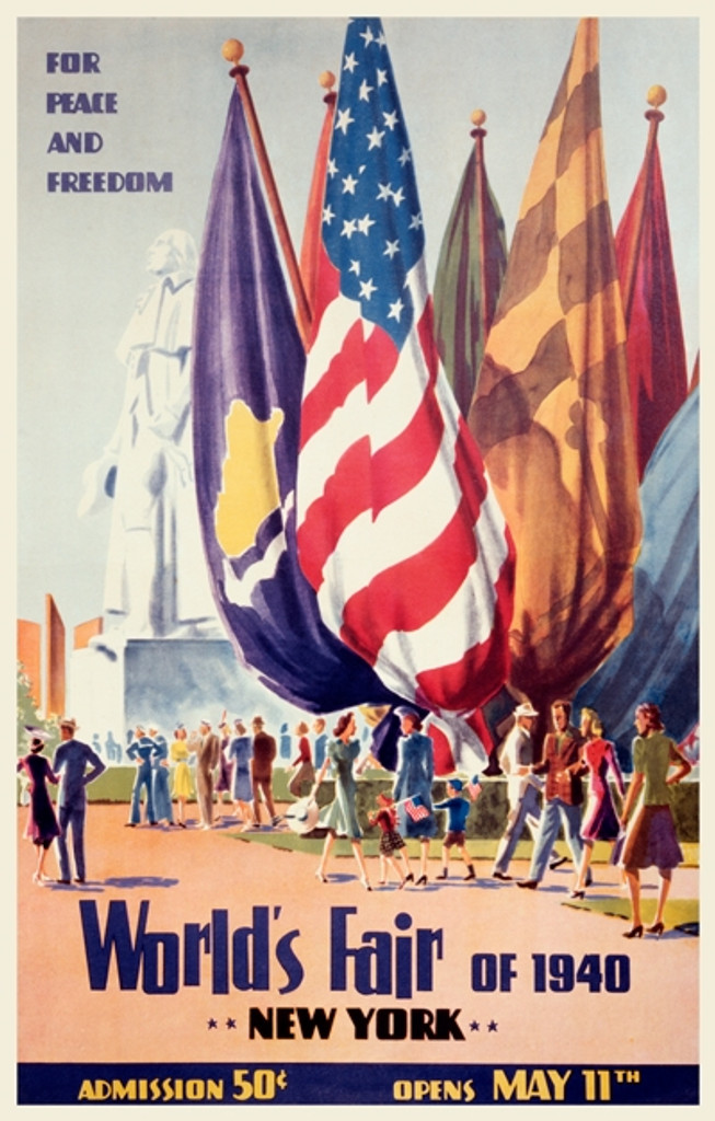New York Worlds Fair 1940 For Peace And Freedom American Vintage Poster Reproduction. Theater and Exhibition poster features people at the fair and flag behind them. Giclee Advertising Print. Classic Posters