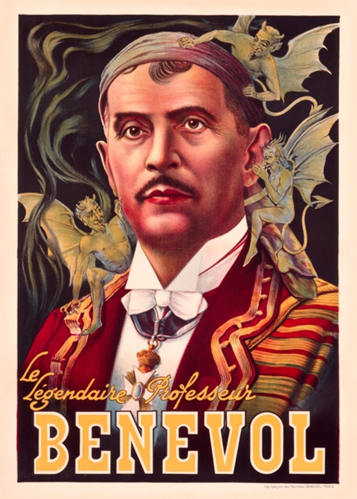 Benevol Le Legendaire Professeur Magic Vintage Poster Reproduction. Theater and exhibition poster features a man with flying green devils on his shoulder. Giclee Advertising Prints. Classic Posters