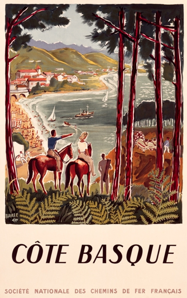 Cote Basque Vintage Poster Reproduction. French travel poster features a couple on a horses looking at coastal beach and homes, with a few sailboats on the water. Giclee Advertising Print. Classic Posters