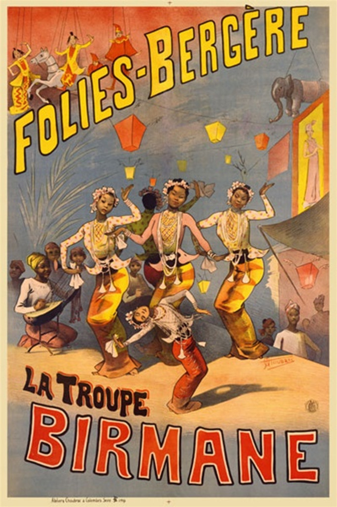 Folies Bergere by Choubrac 1888 France - Beautiful Vintage Poster Reproductions. This vertical French theater and exhibition poster features Burmese dancers and musicians with puppets in the top corner. Giclee Advertising Print. Classic Posters