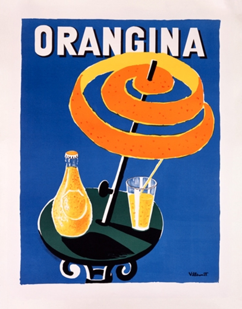 Orangina Vintage Poster Reproduction by Bernard Villemot. French food / culinary advertisement futures orangina bottle and glass on a table with orange peel umbrella on blue background. Giclee advertising prints.