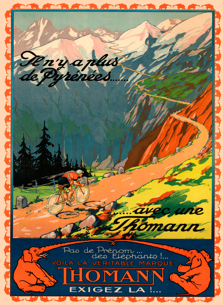 Thomann Cycles vintage transportation poster bicycles advertisement giclee print.