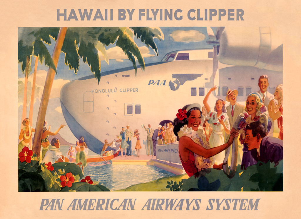 Hawaii by Flying Clipper Pan American Airways System Vintage Poster Reproduction by Lawler. American travel advertisement giclee print.