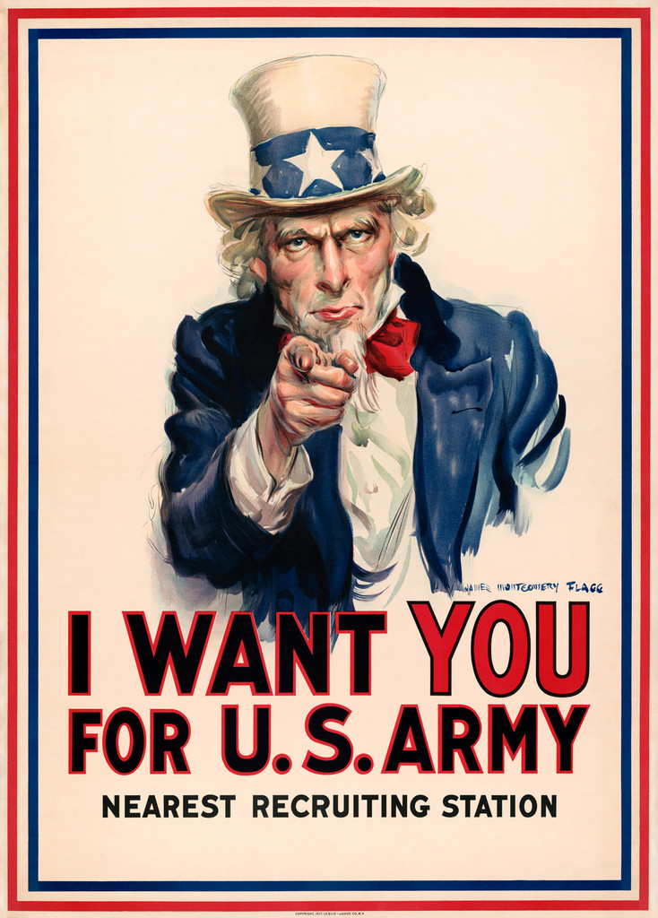 I Want You For U.S. Army Nearest Recruiting Station American War Poster from 1917 - Vintage Poster Reproduction. Giclee Advertising Prints. Classic Posters.