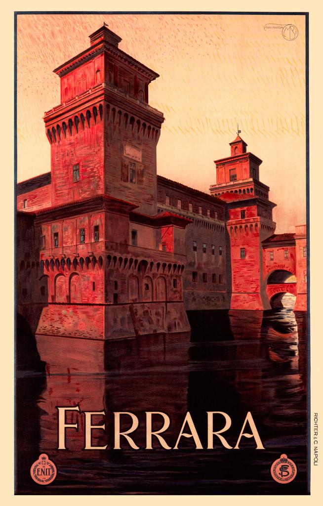 Ferrara Italy Vintage Poster Reproduction by Mario Borconi. Italian travel poster railways advertisement giclee print.