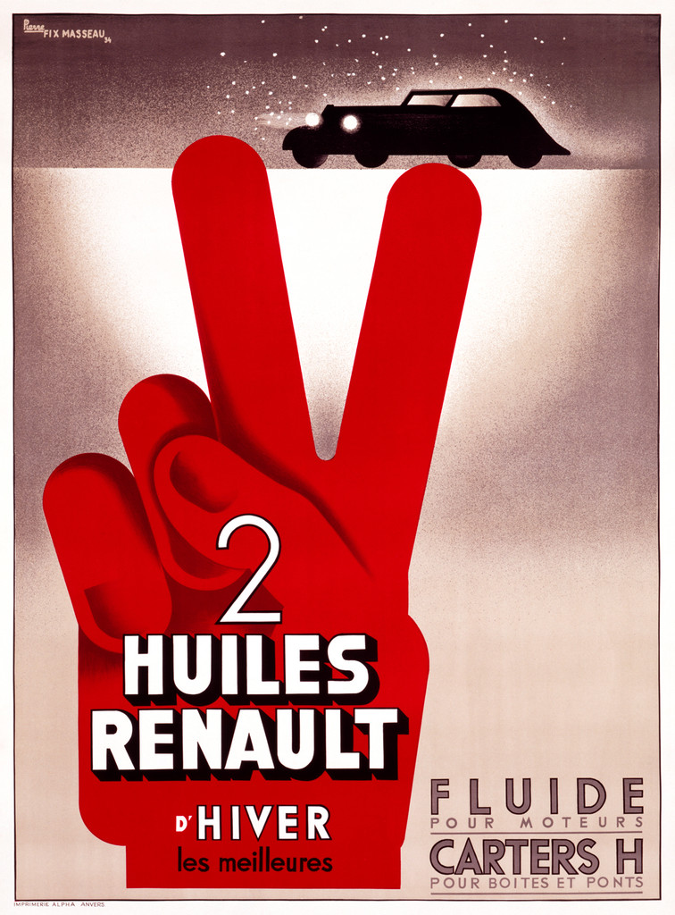 2 Huiles Renault D'Hiver Vintage Transportation Poster automotive advertisement giclee print.