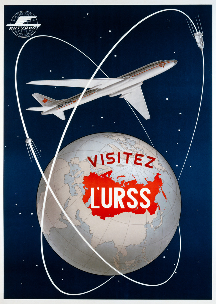 Visitez L'URSS Vintage Poster Reproduction. Russian travel poster features large airplane flying above world glob. Giclee Advertising Print. Classic Posters.