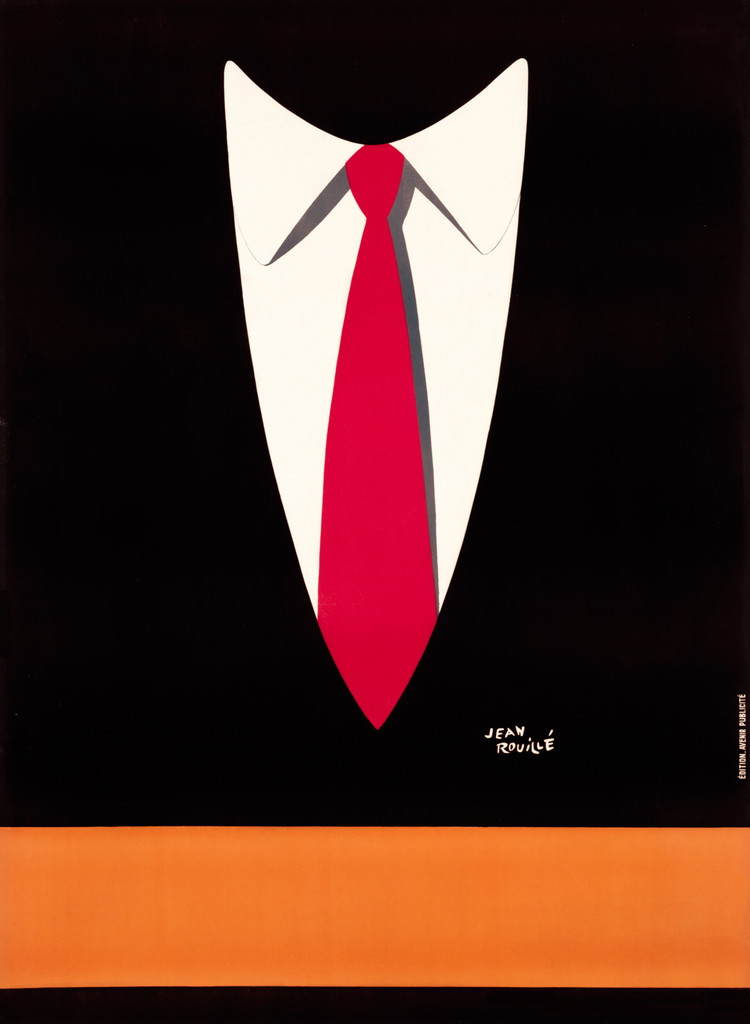 Necktie Vintage Poster Print by Jean Rouille. Giclee Print. French product advertisement mans tie ad.