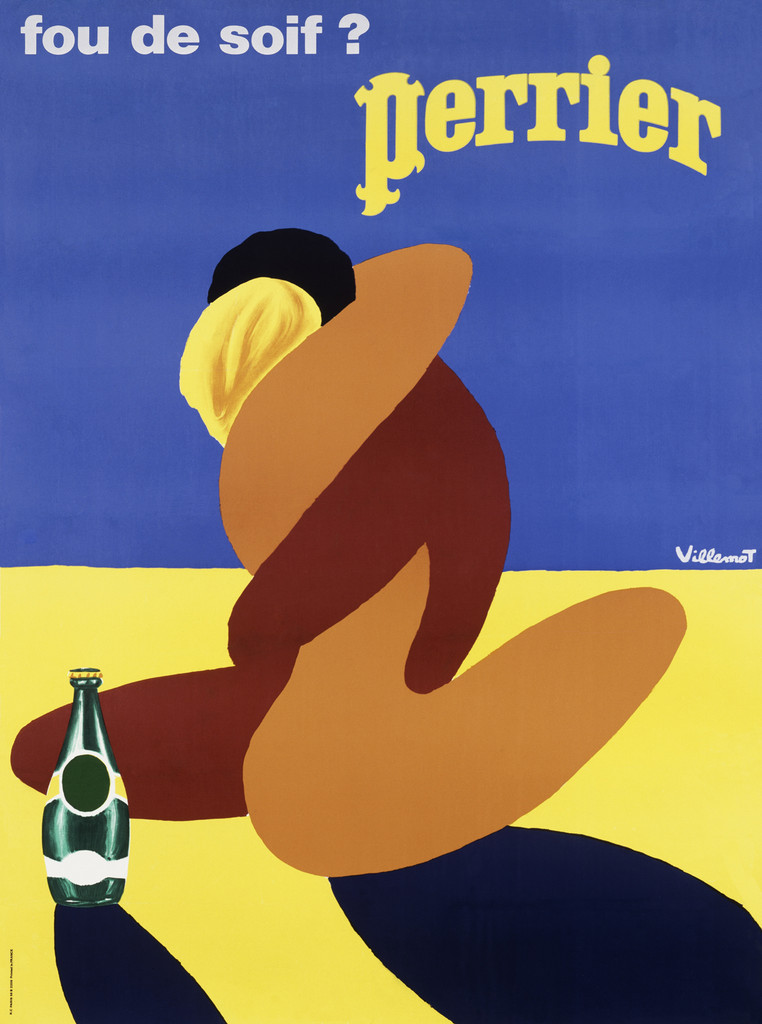 Perrier poster by Bernard  Villemot - Beautiful Vintage Posters Reproductions.French culinary / food poster features coupe hugging and a green bottle perrier next to them on yellow /blue background . Giclee Advertising Prints