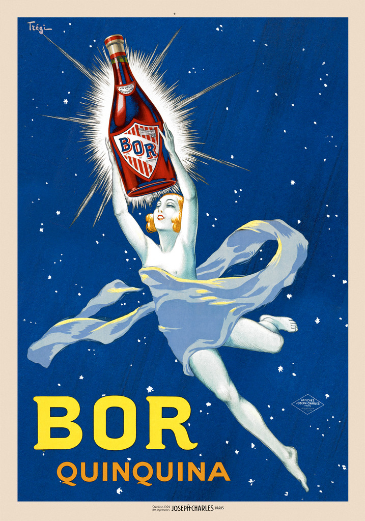 BOR Quinquina poster by Tigre 1924 France - Beautiful Vintage Poster Reproduction. French wine and spirits poster features women floating in air draped in lite blue fabric holding up a glowing red bottle. Great decorating idea for office or home.