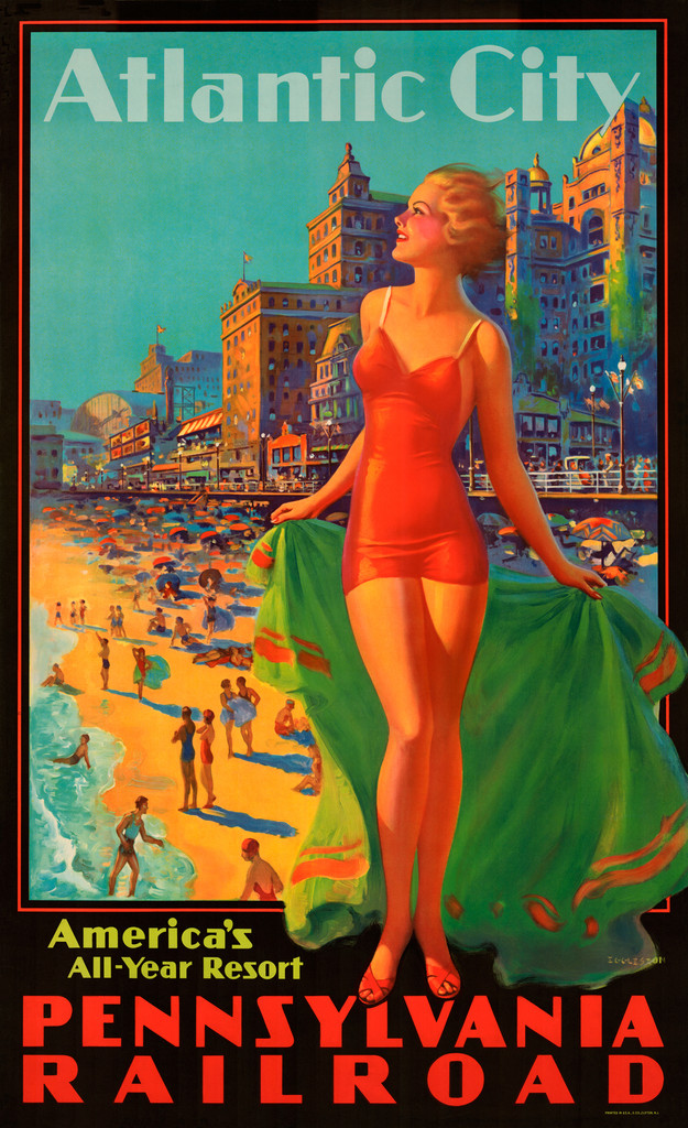 Atlantic City Pennsylvania Railroad American travel poster print by Edward Eggleston.