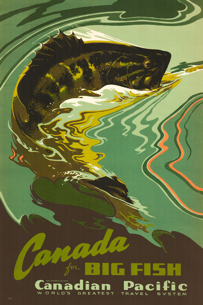 Canada for Big Fish Canadian Pacific Vintage Poster Reproduction. Canadian travel advertisement giclee print.