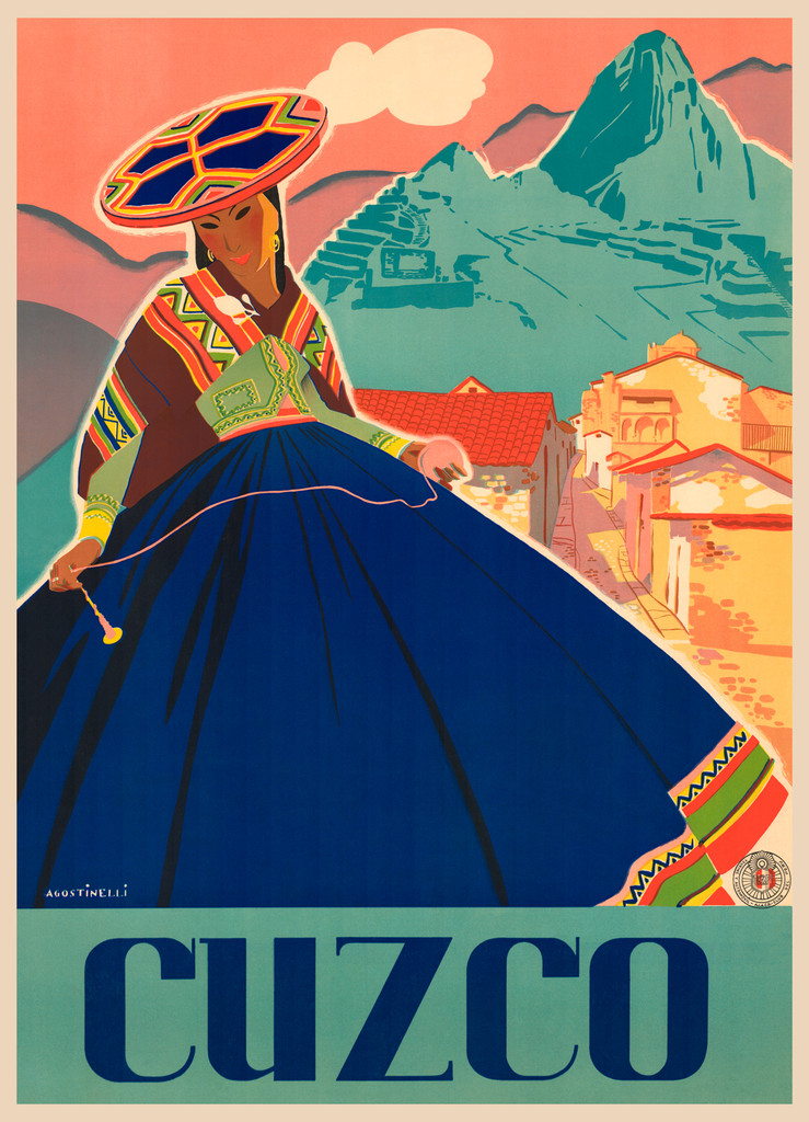 Cuzco Vintage Poster Reproduction. Peruvian travel advertisement giclee print.