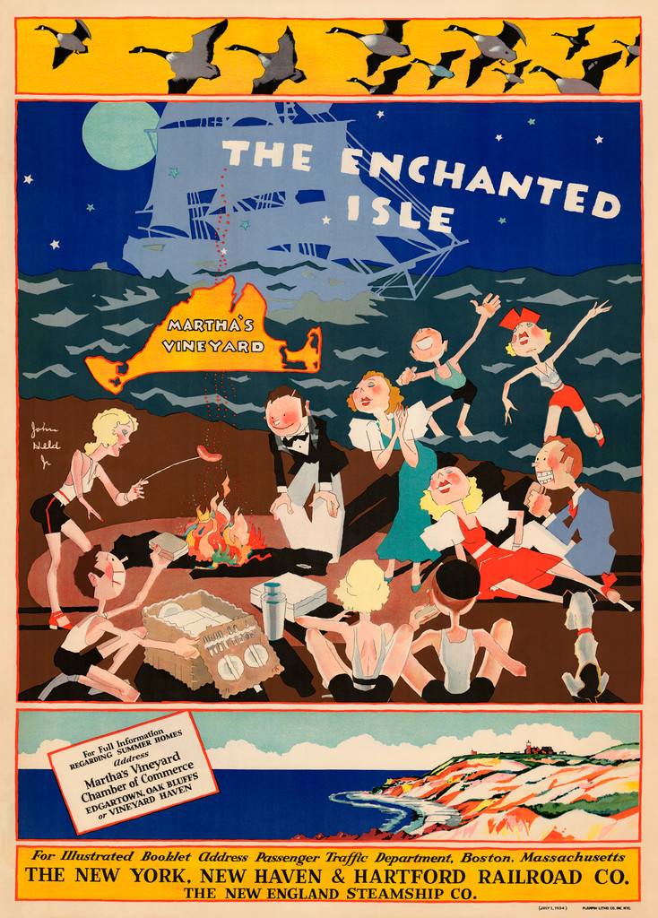 Marthas Vineyard The Enchanted Isle  Vintage Poster Reproduction. American travel advertisement by John Held Jr