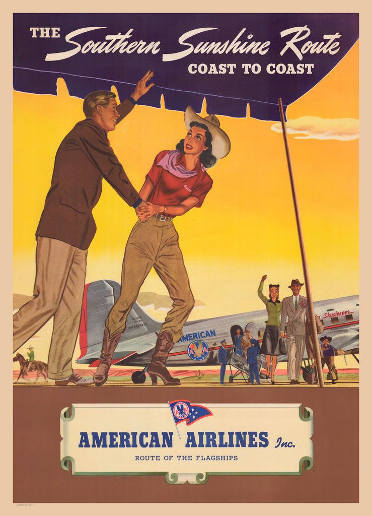 American Airlines The Southern Sunshine Route Coast To Coast vintage travel poster print by Einson-Freeman, L.I. City, New York.