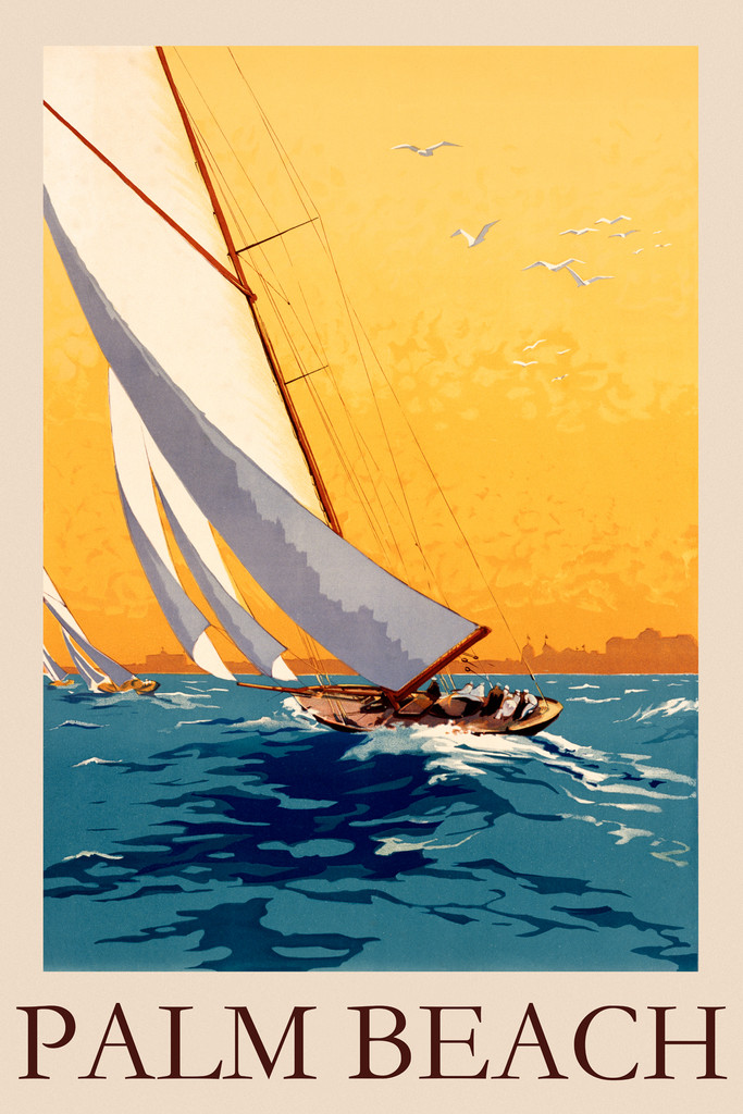 Palm Beach Vintage Poster Reproduction. This vertical travel poster features sailboats on ocean waves lean to one side in the wind as seagulls fly in the yellow sunset sky above. Giclee Advertising Prints. Classic Posters