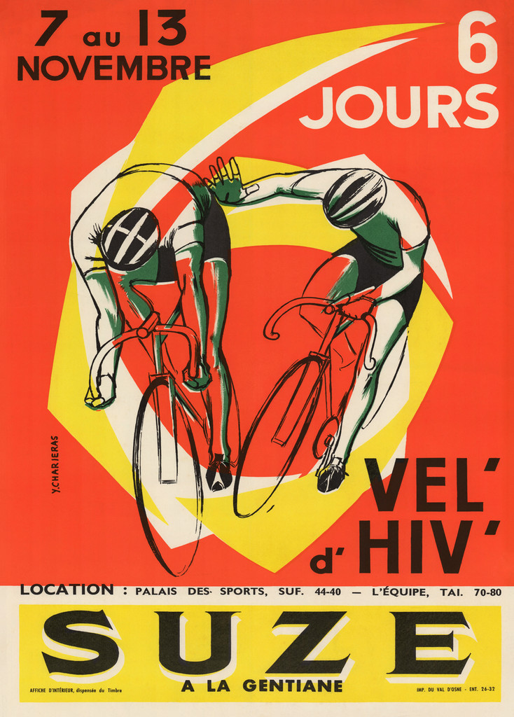 Suze A La Gentiane Cycles poster by Y. Charieras 1957 France - Beautiful Vintage Poster Reproduction. French transportation poster features two cyclist racing/ riding out of circle outlined in yellow and white on a orange background. Giclee Advertising Print. Fine Art Posters