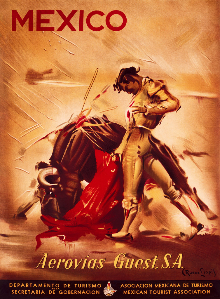 Mexico Aerovias Guest Vintage Poster Reproduction. This vertical Spanish travel poster features matador standing next to stabbed bull. Giclee Advertising Prints. Fine Art Posters.