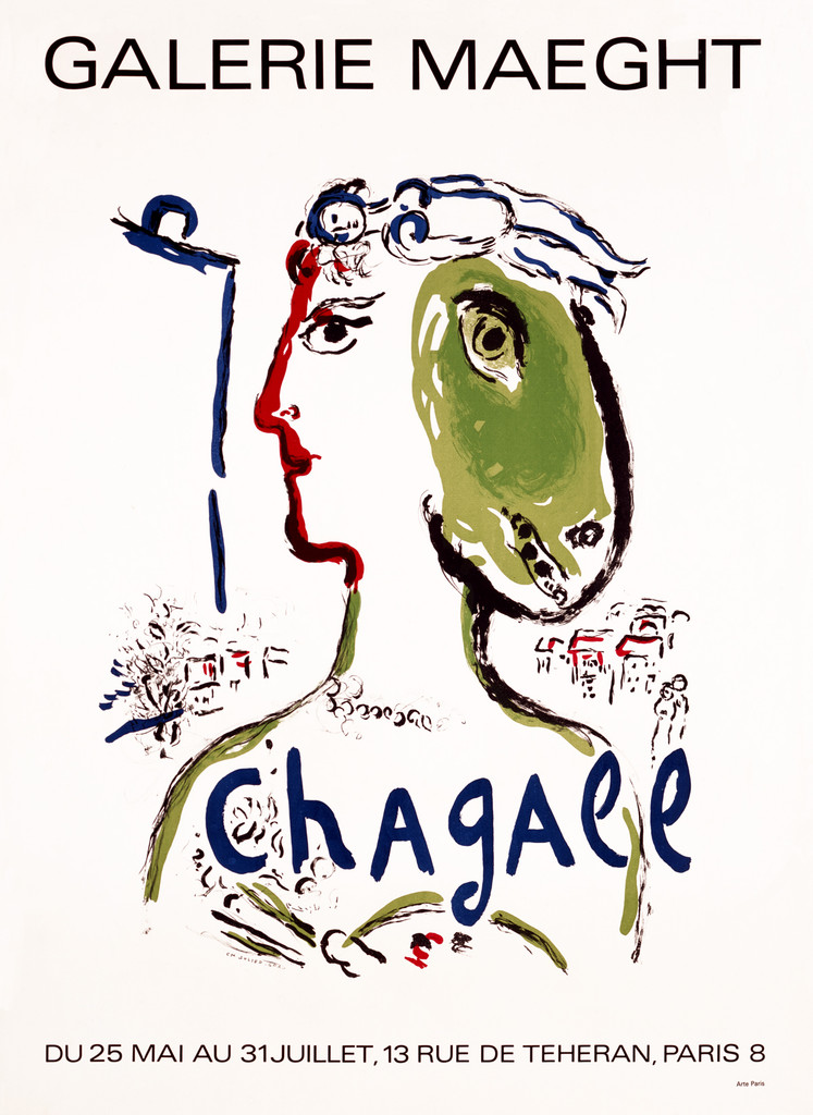 Chagall Galerie Maeght 1972 Vintage Poster by Marc Chagall  Giclee Advertising Print. Fine Art Posters.