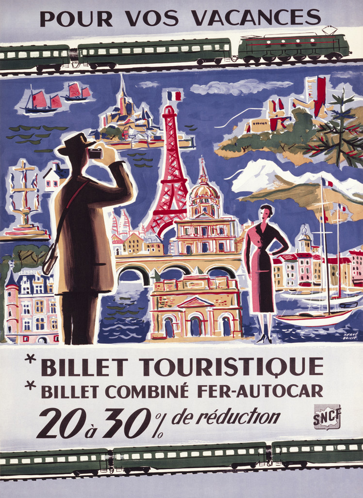 Pour Vos Vacances Billet Touristique Vintage Poster Reproduction. SNCF French train advertisement for different travel destinations with discounted tickets. Giclee Advertising Prints. Fine Art Posters