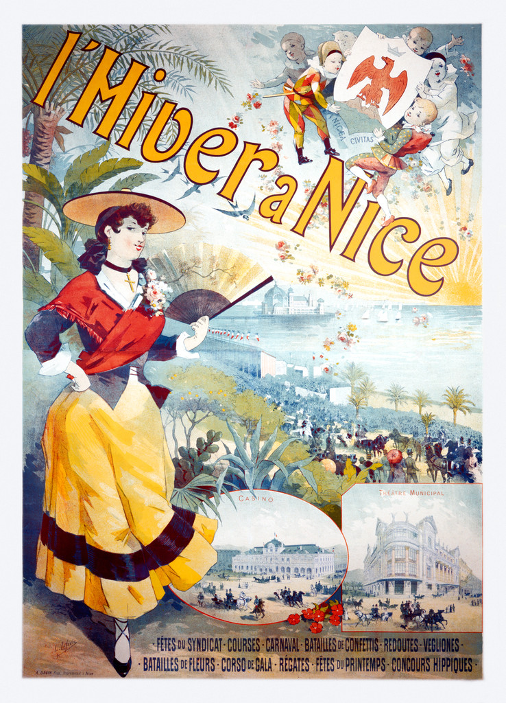 L'Hiver a Nice France by L. Lefevre - Vintage Poster Reproduction. This French travel poster features a woman standing with fan in her hand and in a background are casinos, hotels and carnavals. Giclee Advertising Print. Classic Posters.