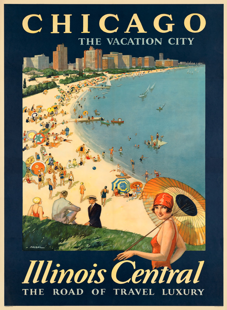 Chicago The Vacation City Illinois Central The Road of Travel Luxury Vintage Poster Reproduction. American travel poster features woman standing with sun umbrella,  people on the beach and sail boats on Lake Michigan.  Giclee Advertising Print. Classic Posters
