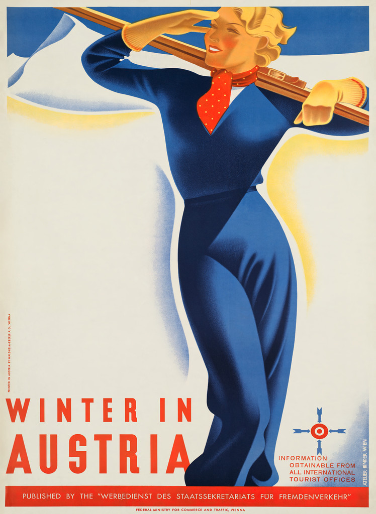 Winter In Austria Travel Vintage Poster Reproduction. Austrian travel poster advertising skiing destination in Vienna. Giclee Advertising Print. Classic Ski Posters.