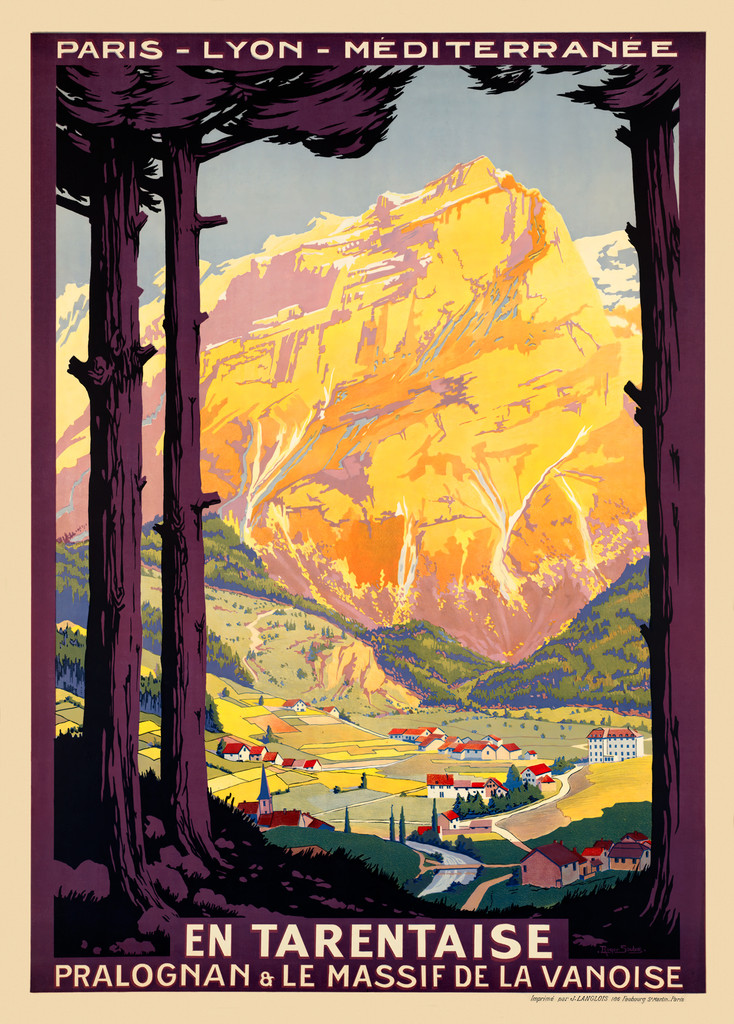 En Tarentaise Paris - Lyon - Mediterranee Vintage Travel Poster by Roger Soubie 1925 France. French poster features view of village and French Alps in a background. Giclee Advertising Print. Classic Posters.