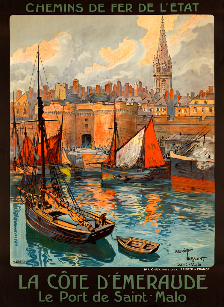 La Cote D'Emeraude Le Port de Saint - Malo Vintage Poster by Maurice Toussaint 1925 France. French railway poster features view of port with boats, church and city buildings in a background. Giclee Advertising Print. Classic Posters.